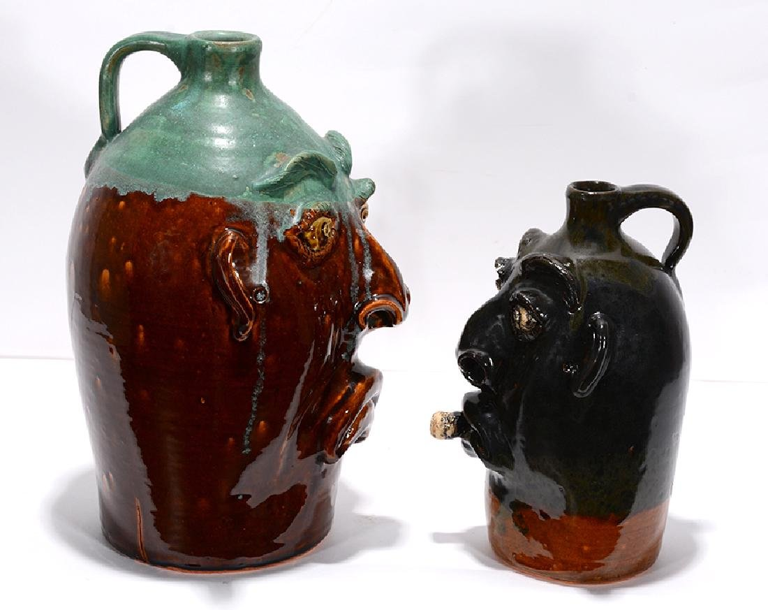 Charlie Brown. Pair Of Two-Tone Large Face Jugs. - 2