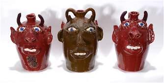 Jerry Brown. Three Devil Face Jugs.