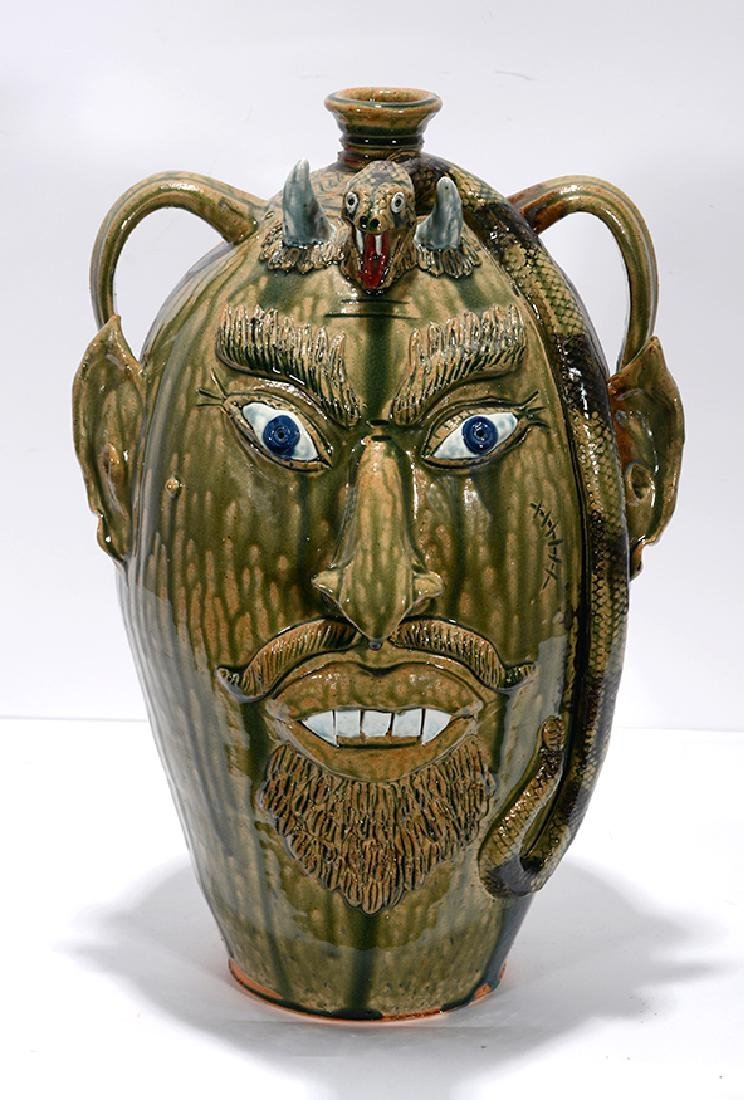 Albert Hodge. XL 5 Gallon Devil With Snake Face Jug.