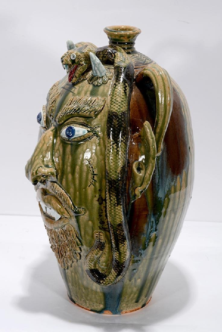 Albert Hodge. XL 5 Gallon Devil With Snake Face Jug. - 2
