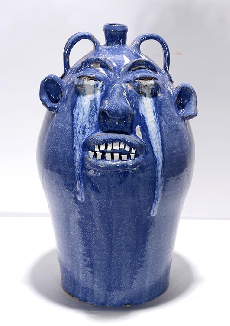 Marvin Bailey. 5 Gallon Runny-Eyed Blue Face Jug.