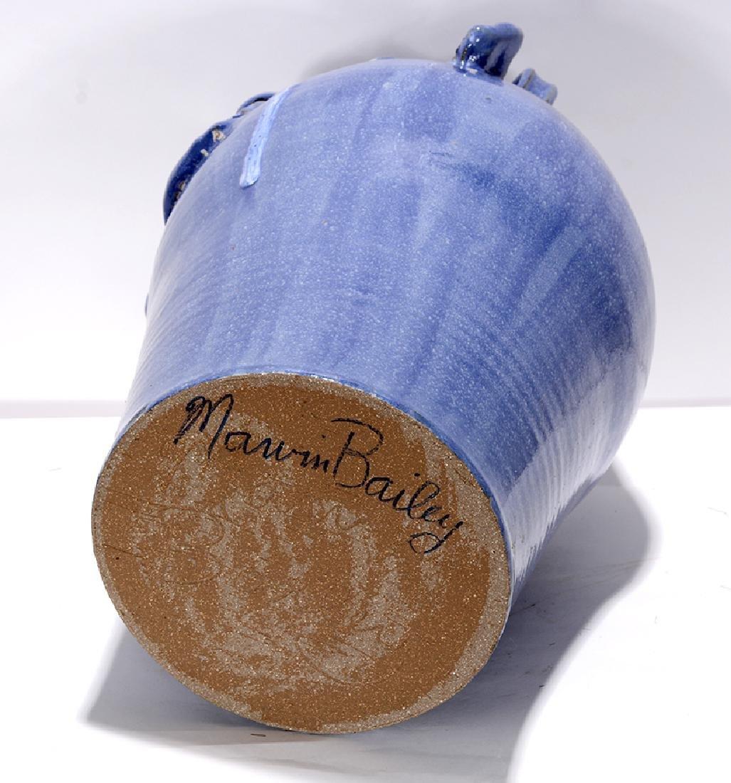 Marvin Bailey. 5 Gallon Runny-Eyed Blue Face Jug. - 3