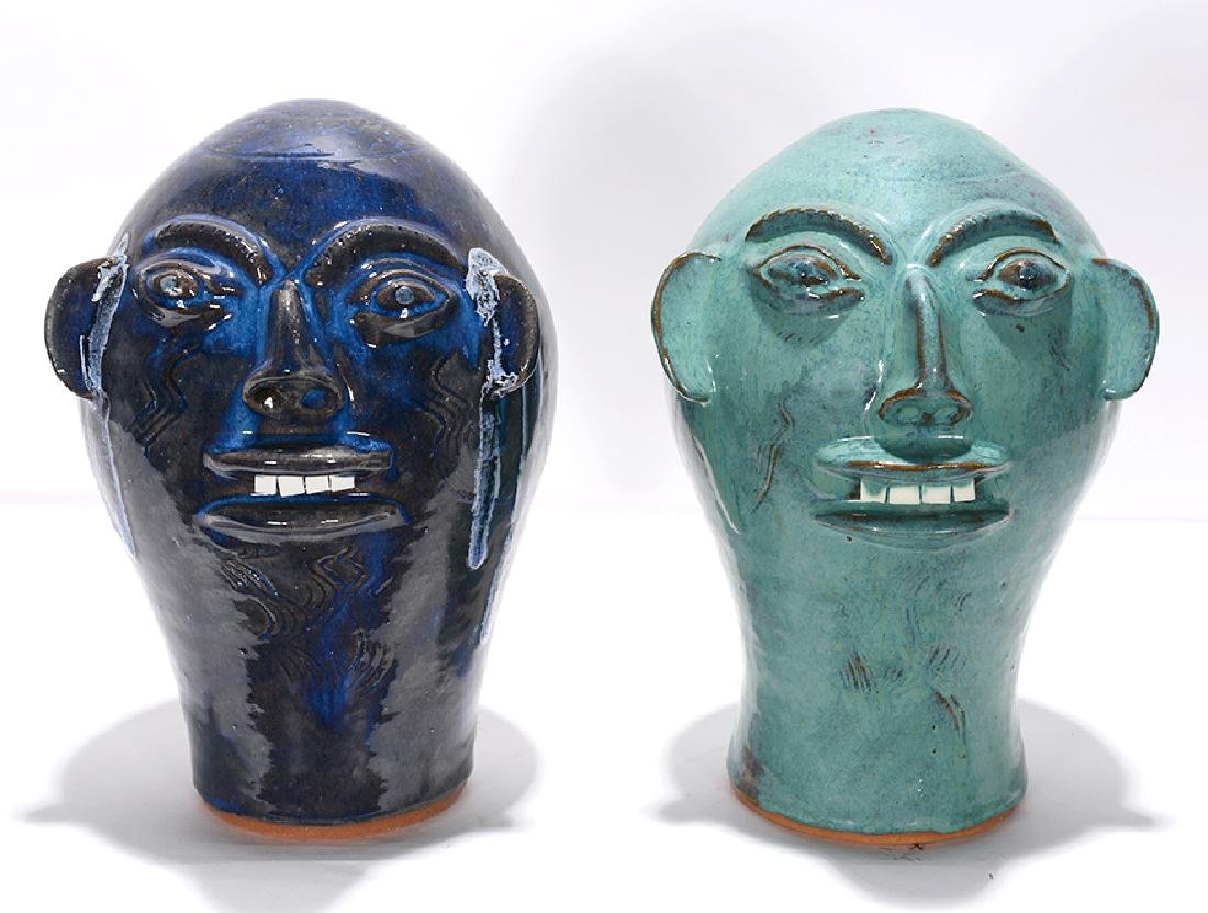 Walter Fleming. Pair of Blueish Colored Wig Stands.