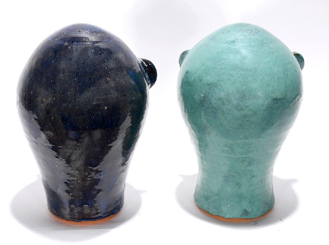 Walter Fleming. Pair of Blueish Colored Wig Stands. - 2