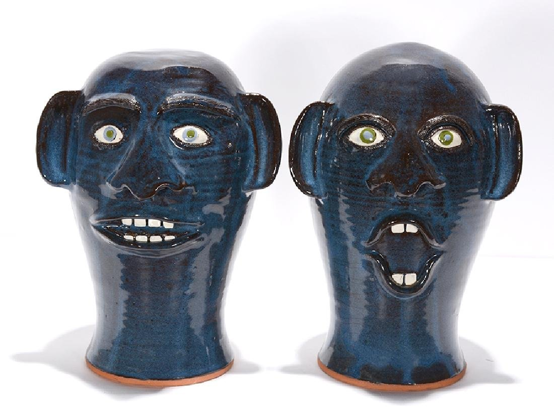 Joe Reinhardt. Pair of Deep Blue Wig Stands.