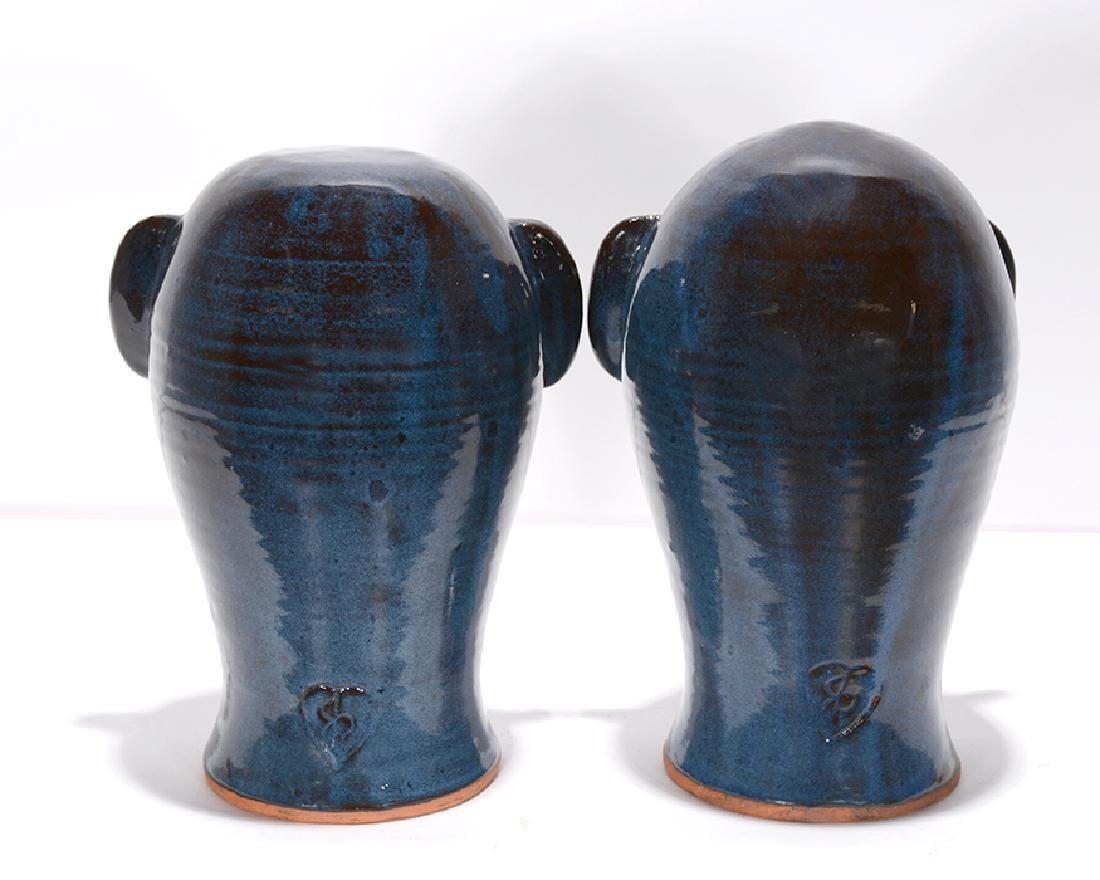 Joe Reinhardt. Pair of Deep Blue Wig Stands. - 2