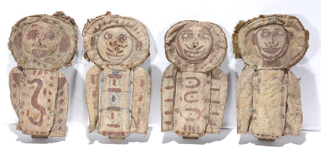 Four Early Carnival Knock Down Punk Dolls. - 2
