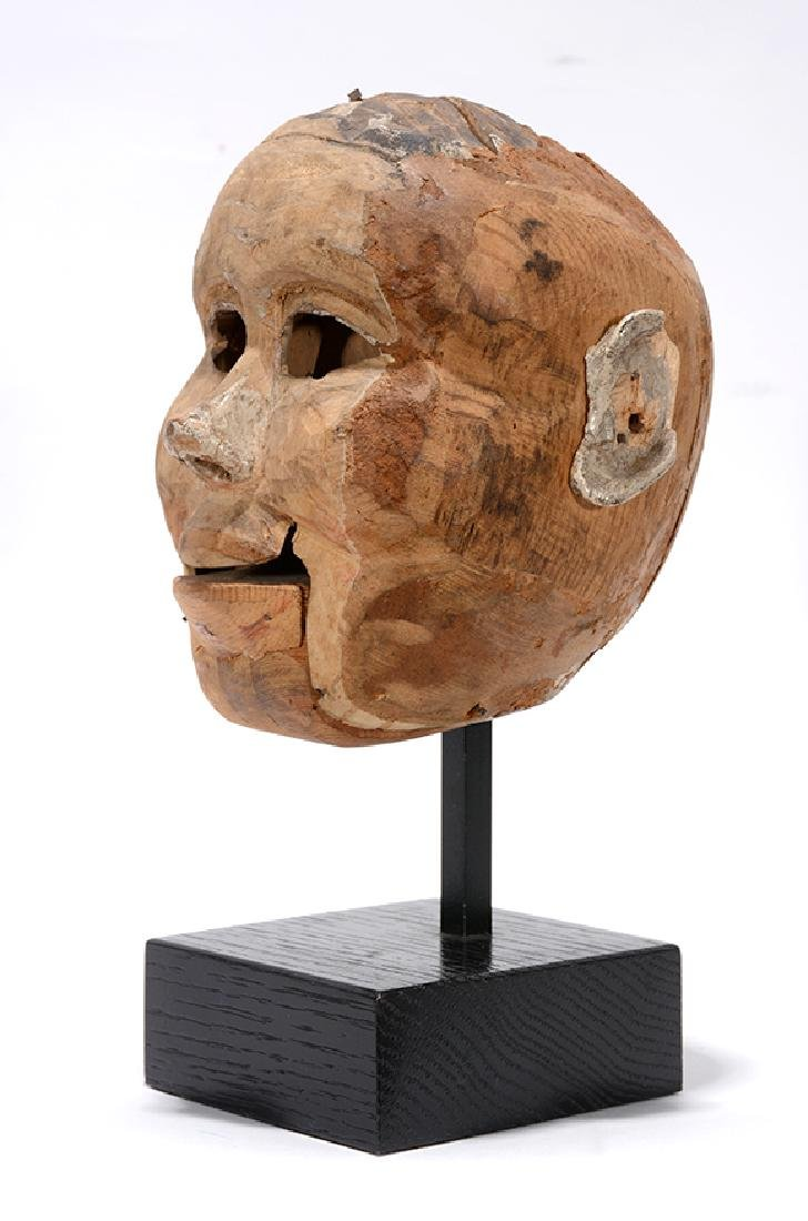 Antique Ventriloquist Doll Head Sculpture. - 3