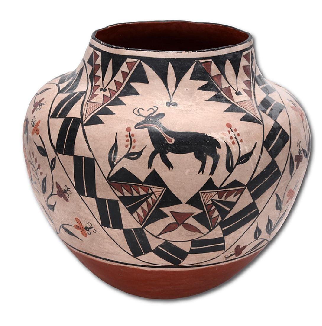 Acoma Pot. Pot With Deer, Bird, Flowers, Designs.