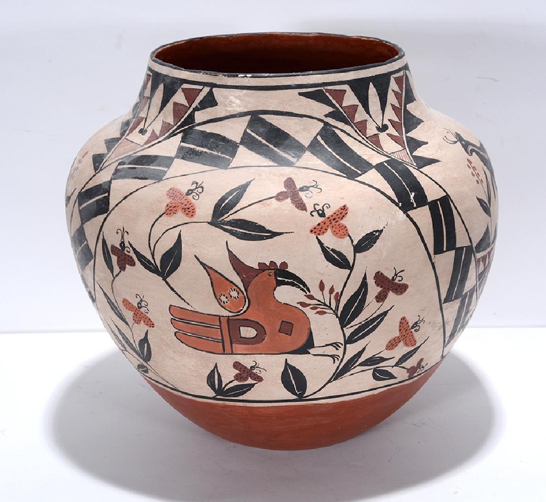 Acoma Pot. Pot With Deer, Bird, Flowers, Designs. - 2
