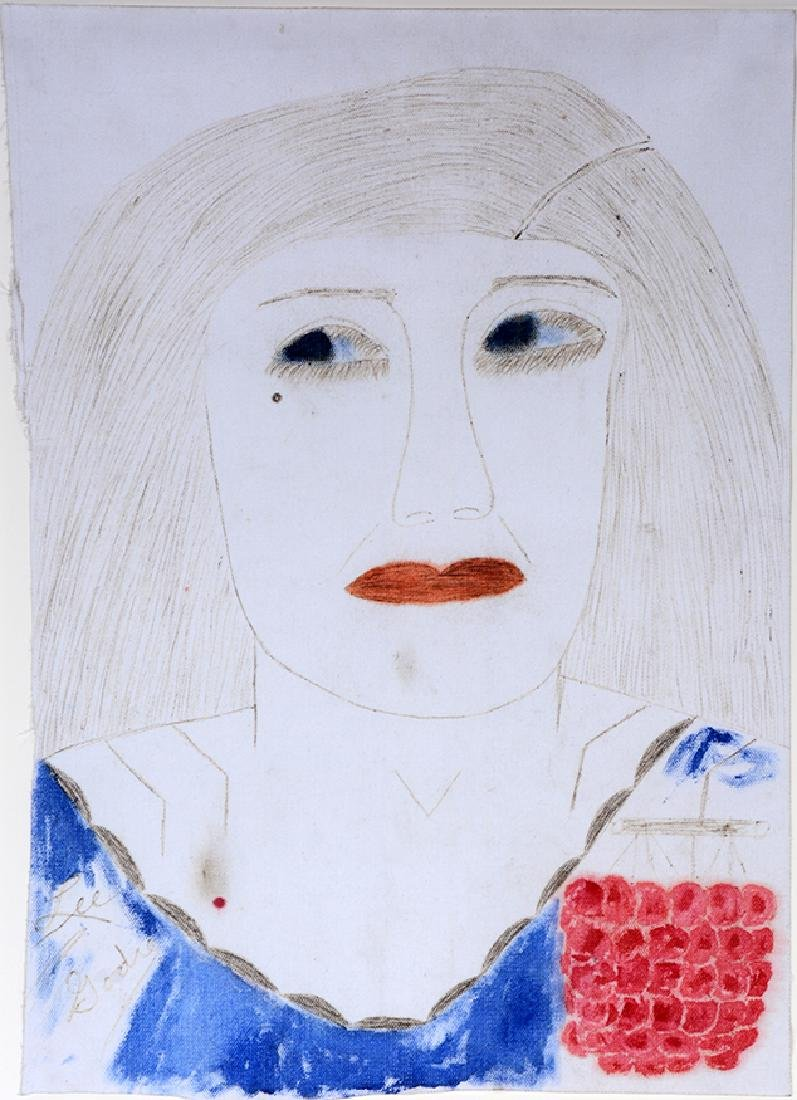 Lee Godie. Woman With Red Grape Pendant.