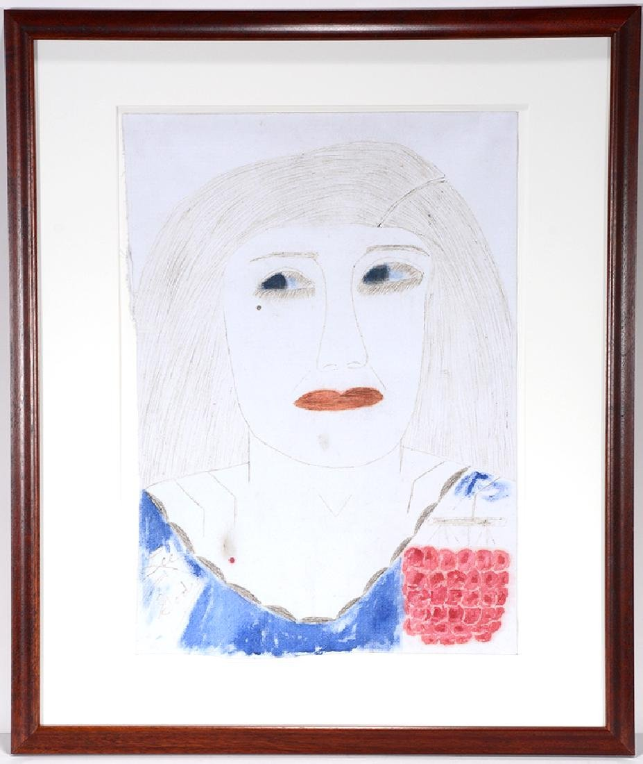 Lee Godie. Woman With Red Grape Pendant. - 2