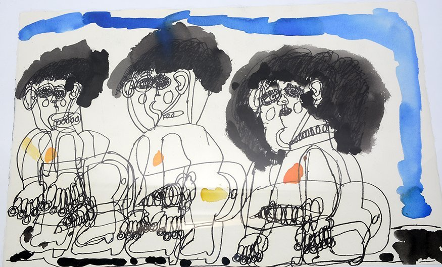 Dwight Mackintosh. Three Erotic Men Under Blue Sky.
