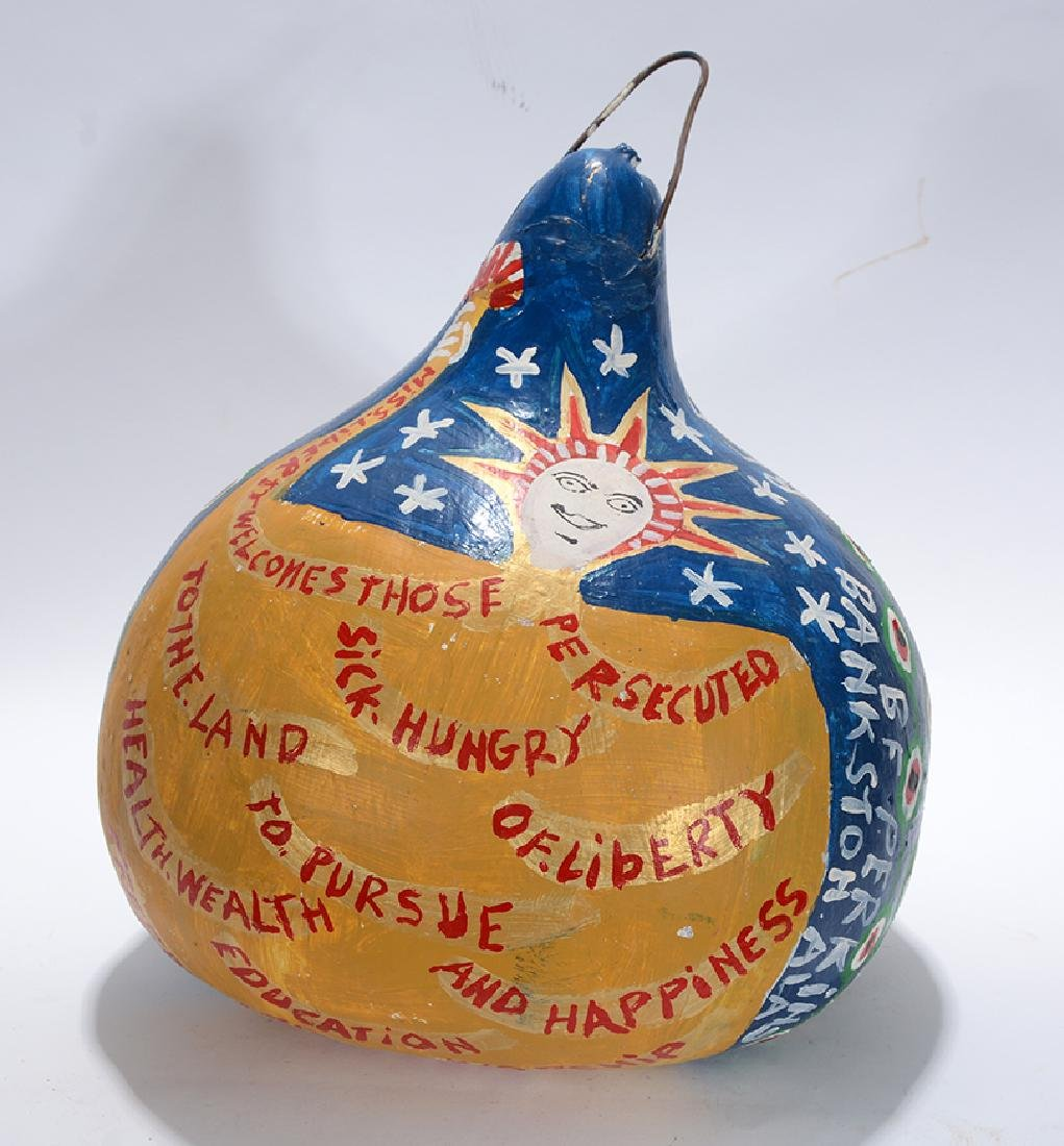 B.F. Perkins. Miss Liberty and Love Birds Gourd.