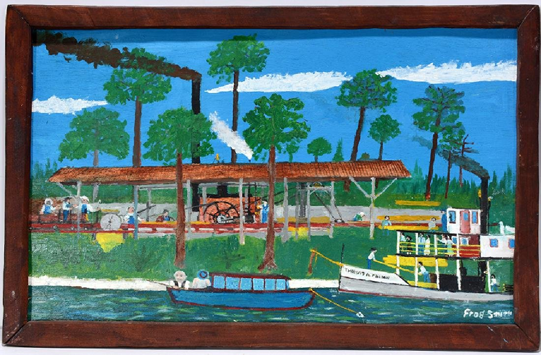 Frog Smith. Florida Logging Mill With Boats.