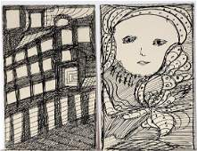 Madge Gill Building  Womans Portrait Drawings