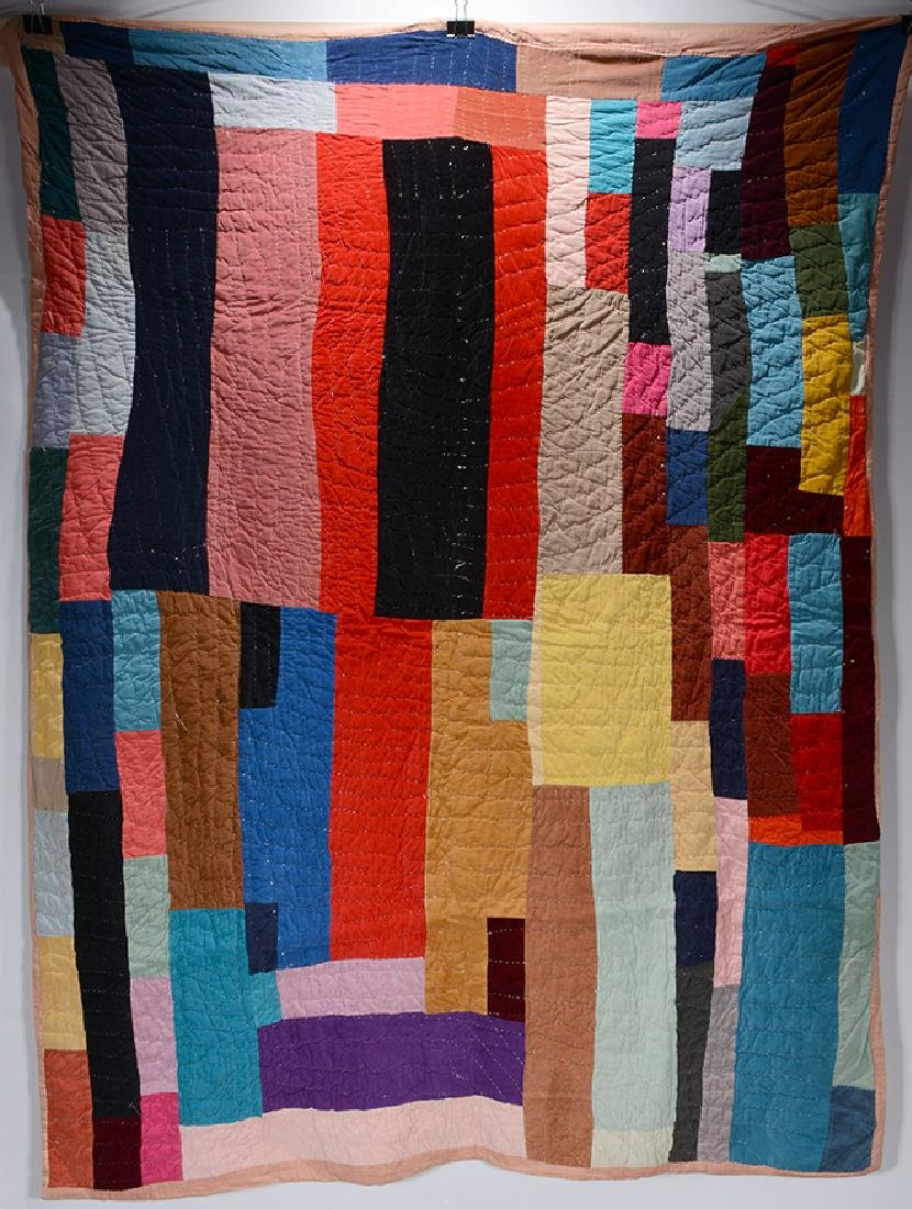 Possibly Af. American. Beautiful Strip Piece Quilt. - 2