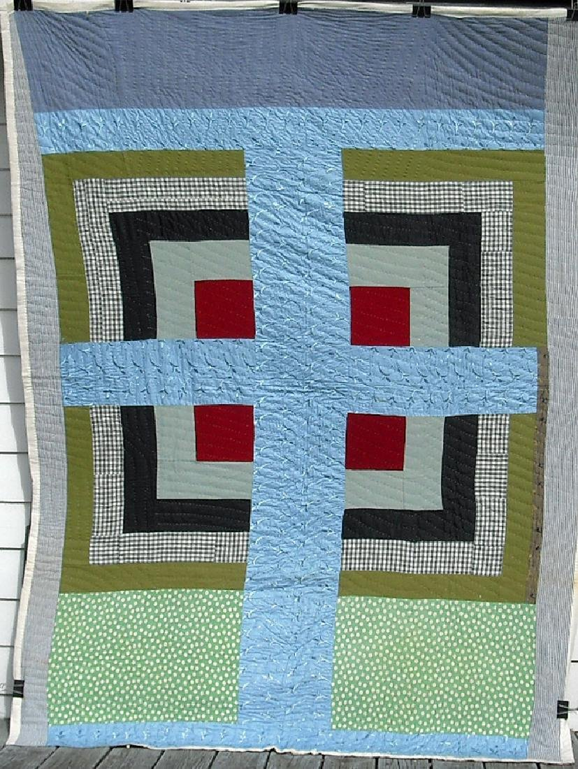 Anonymous Big Blue Cross Quilt.