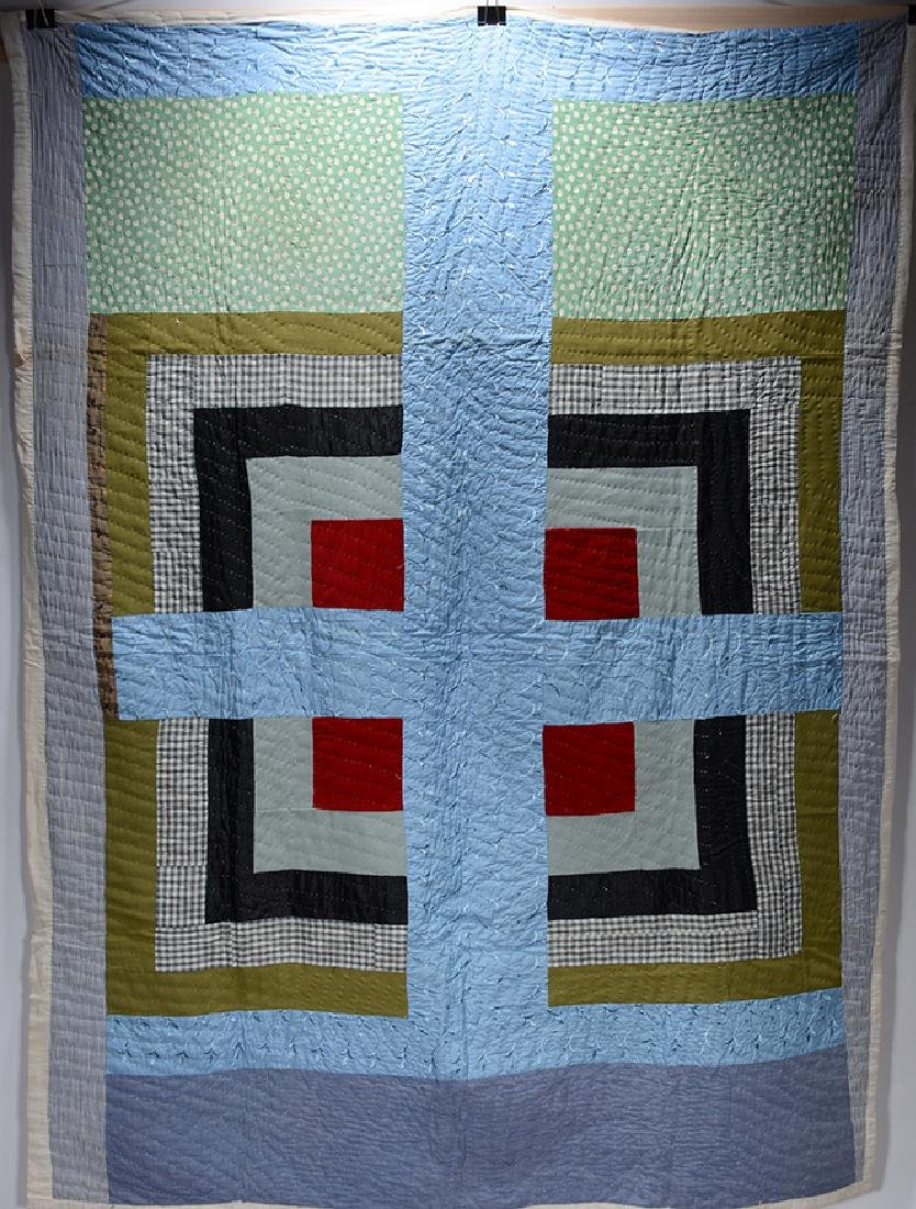 Anonymous Big Blue Cross Quilt. - 2