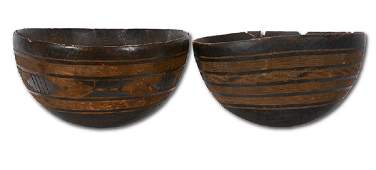 Two Large Burl Wood Knot Bowls