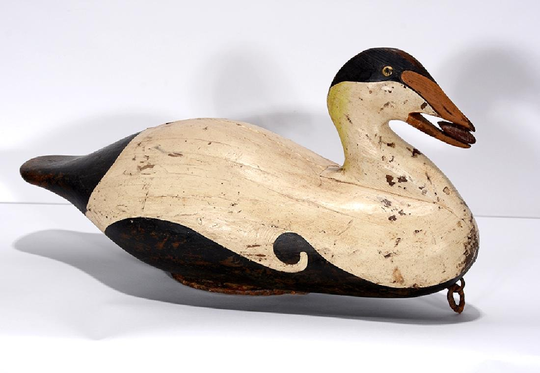 J.P. Lg Brown & White Decoy With Stone In Mouth. - 2