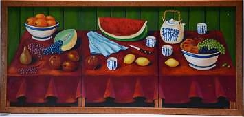 R. Ferrara. Triptic Fruit Still Life.
