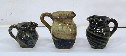 1: Reinhardt Pottery 3 Mini Souvenir Pitchers