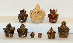 Various Potters Group of Mini Face Jugs