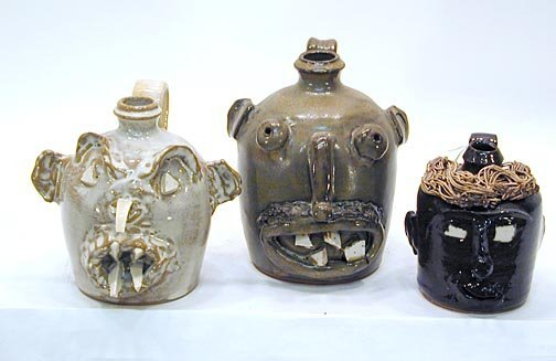 13: Luck Family Pottery 3 Face Jugs