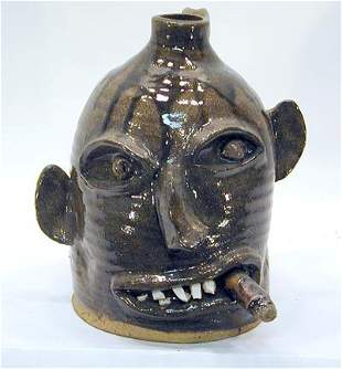 Ned Berry Face Jug with Cigar
