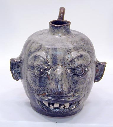 17: Hicks Pottery Gray Face Jug