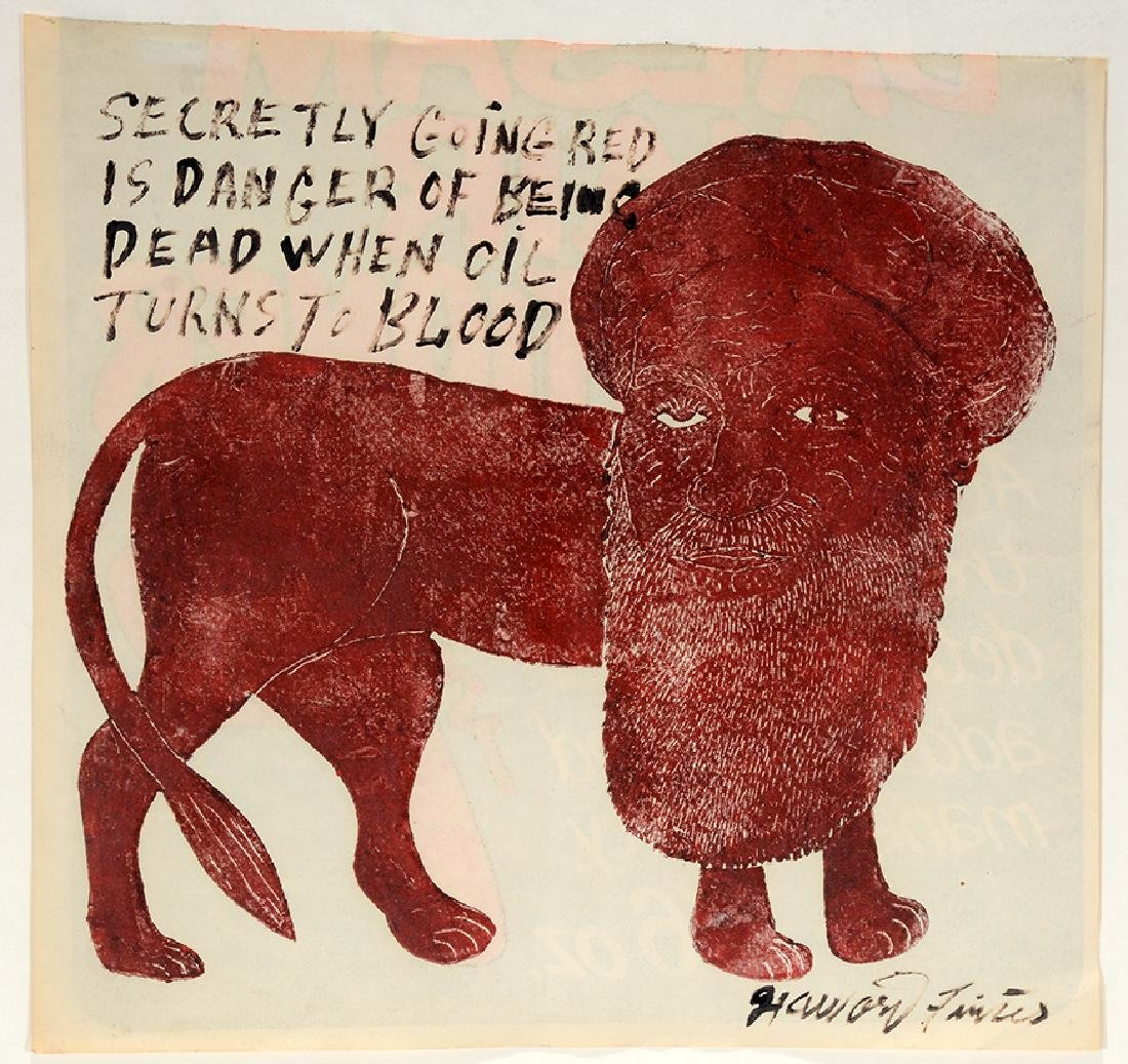 Howard Finster. When Oil Turns To Blood Signed Mono
