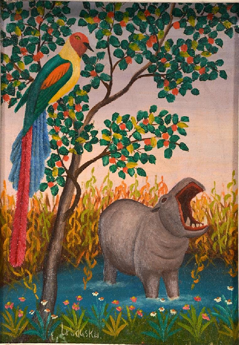 Lawrence Lebduska. Hippo With Birds Of Paradise. - 2