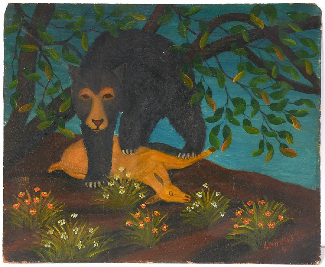 Lawrence Lebduska. Bear With Deer.