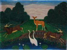 Lawrence Lebduska. White Cranes With African Deer.