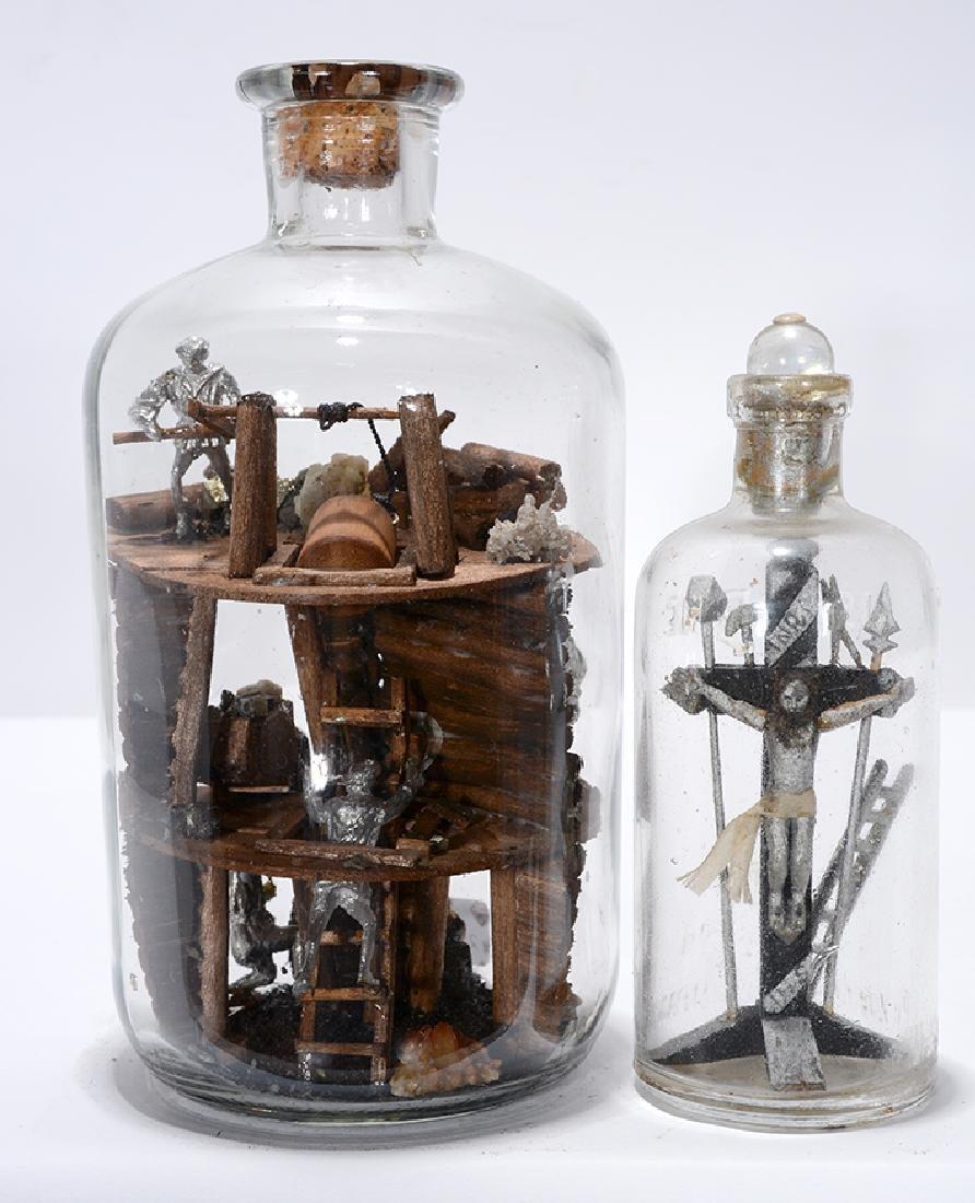Bottle Whimseys. Miners & Jesus On Cross.