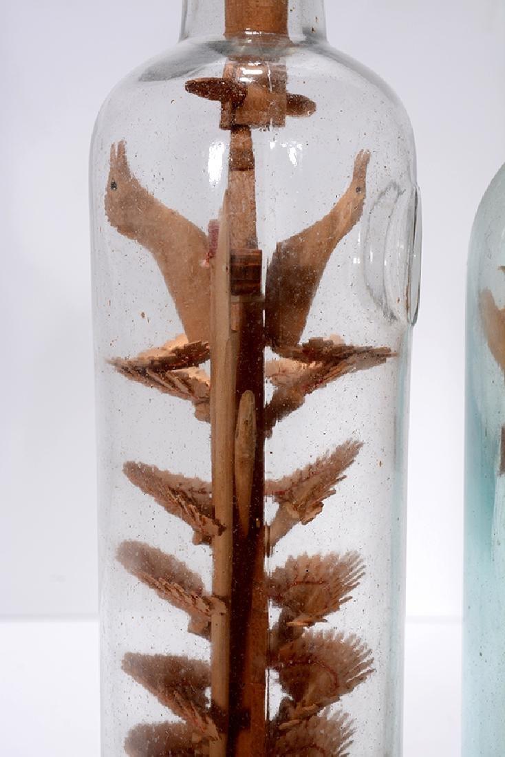 Birds On Fan Tree and Cross In A Bottle Whimseys. - 2