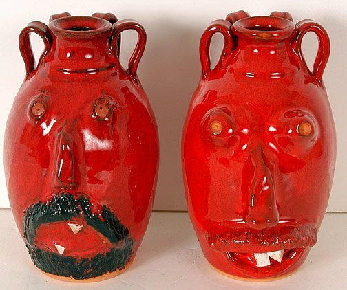 8: Gary Owens & S.K. Owens Two Face Jugs.