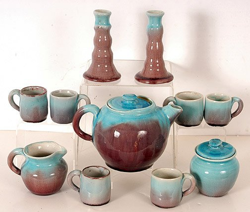 20: Pisgah Forest Pottery Tea Set.
