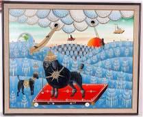 314: Erich Staub Large Black Poodle.