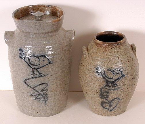 5: Salt Glaze Vase & Churn with Cobalt Blue Bird