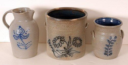 6: Three Salt Glaze Pieces with Cobalt Blue Decoration