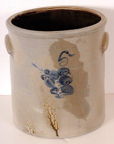 8: Salt Glaze Crock with Cobalt Blue Bird