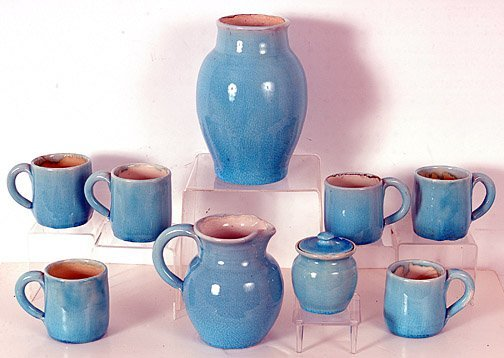 14: Pisgah Forest Turquoise Vase, Pitcher, Sugar & Mug