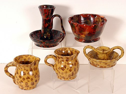 20: JCS Pottery Five Pieces of Spotted Ware