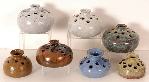 21: Teague Pottery Group of Seven Flower Vases