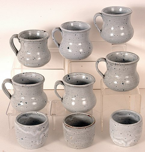 22: Teague Pottery Collection of 9 Cups & Mugs