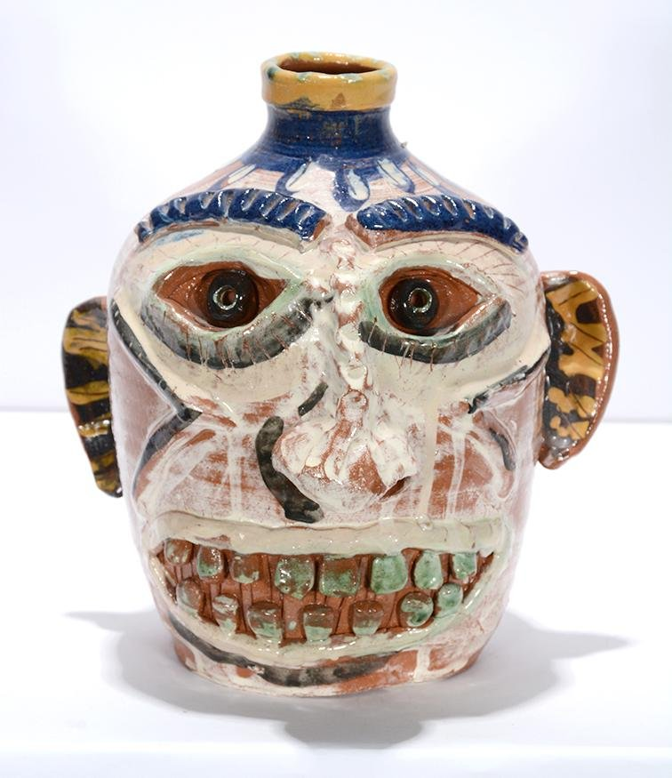 Carl Block. Pale Face Jug With Flowers