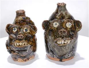 Marie Rogers. Pair of Face Jugs, One With Snake.