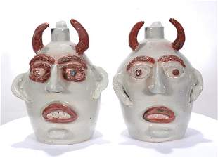 Jerry Brown. His and Hers White Devil Jugs.